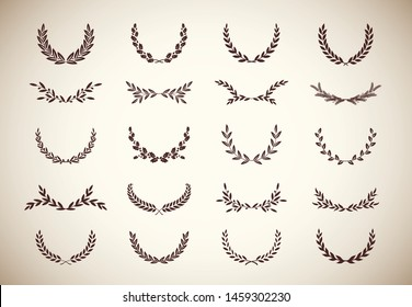 Collection of different vintage silhouette laurel foliate, wheat, oak and olive wreaths depicting an award, achievement, heraldry, nobility, game dev. Vector illustration.