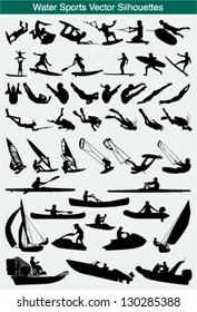 Collection of different water sports silhouettes