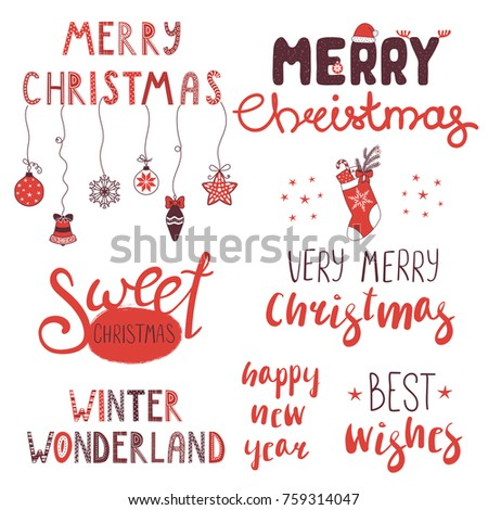 Collection Different Winter Christmas New Year Stock Vector (Royalty ...