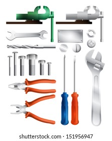 collection of different work tools, eps10 vector