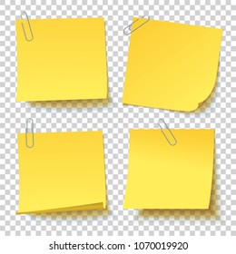Collection of different yellow sticker paper clip attached with curled corner, ready for your message. Realistic vector illustration with a transparent shadow. Isolated background. Front view. Set