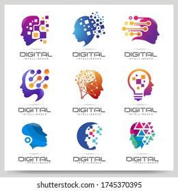 Collection of digital people logo design. Graphic design element. Vector illustration