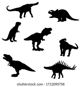 collection of dinosaur silhouettes, black and white vector illustration of dinosaurs for textile, books, tattoo isolated on white background