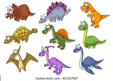 Collection of dinosaur, vector art isolated on white