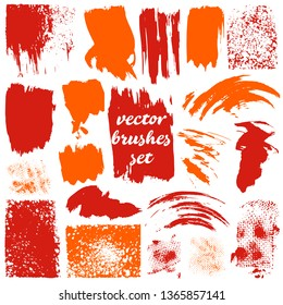Collection of dirty elements design. Large set of two-color brushes, dots. Vector illustration. Isolated. Orange shades