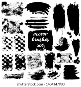 Collection of dirty elements for design. Large set strokes, brushes, dots and lines