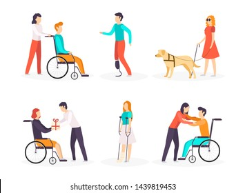 Collection of disabled people. Vector illustration