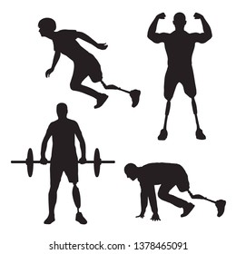 Collection of disabled sportsmen. Vector silhouette with physical disorder men
