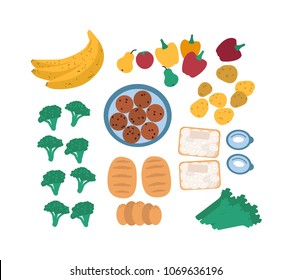 Collection of discarded food for freegans isolated on white background - fruits, vegetables, eggs, bread. Bundle of foraged or rescued edible leftovers. Flat cartoon colorful vector illustration.
