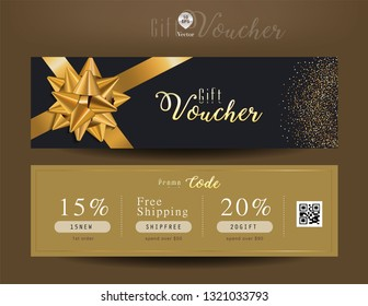 Collection of discount voucher template with ribbons bow and promo code. Detailed and realistic Vector illustration.