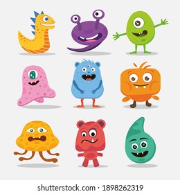 A collection of diverse cute monsters. Colorful funny creatures.