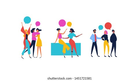 Collection of diverse friend groups and best friends talking. Colorful people cartoon with chat bubbles on isolated white background.