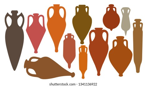 Collection  of diverse silhouettes of ancient Greek amphoras.