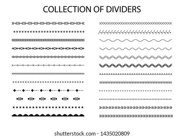 Collection of dividers in black color. Vector set.