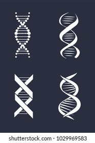 Collection of DNA deoxyribonucleic acid chains logo design in black and white colors, DNA logotypes of nucleotides carrying genetic instructions vector