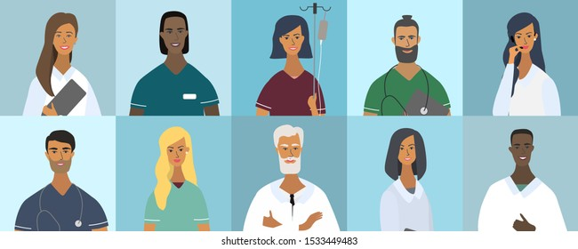 Collection of doctor portraits or avatars. Various faces: blonde, brunette, with beard, African American, trendy hairstyle. Teamwork of medical specialists. Flat vector illustration in cartoon style