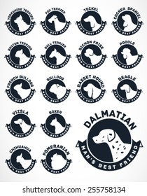 Collection of Dog Badges. Vector Icons.