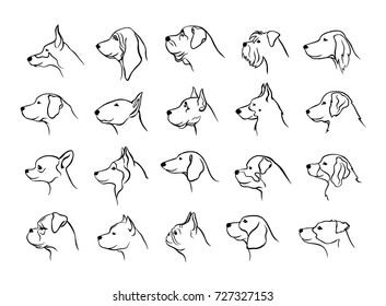 collection of dogs heads profile side view portraits silhouettes in black color set