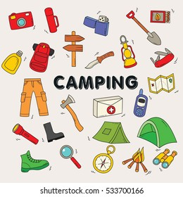 Collection of doodle camping and hiking equipment symbols. Vector illustration