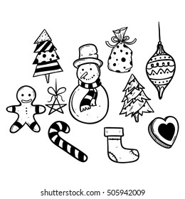 collection of doodle christmas icons