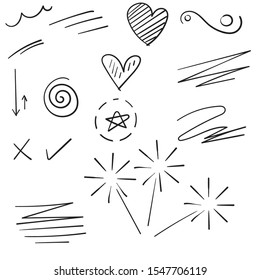 collection of doodle contain of curly swishes, swoops, swirl, arrow, heart, love, crown, flower, star, firework