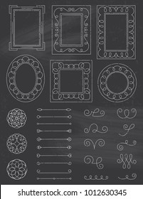 A collection of doodle design elements in a chalkboard style. Easy to edit. EPS 10. Transparencies. Two Layers.