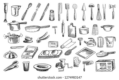 Collection of doodle hand drawn vector illustraions of kitchen stuff idolated on white background. Cooking equipment set