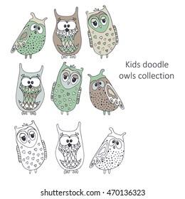 Collection doodle kids owls.