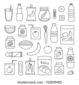 Collection of doodle outline baby foods including drinks, porridges, puree and desserts isolated on white background.