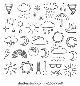 Collection of doodle outline weather icons including sun, clouds, rain drops, snowflakes, stars, moon, rainbow, thunder, thermometer isolated on white background.
