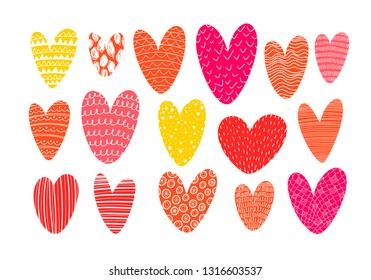 Collection of doodle pink hearts. Vector hand drawn dating and romance clip art elements. Stylized heart shapes. Valentine day color illustration.