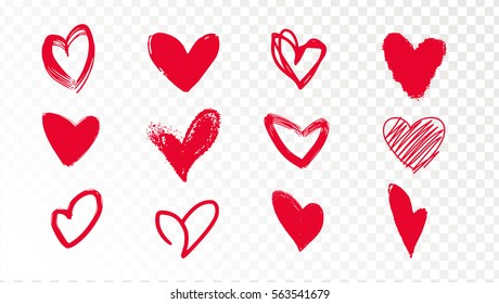 Collection of doodle red hearts on a transparent background. Beautiful hearts, you can use stickers for Valentine's Day. hand drawn illustration