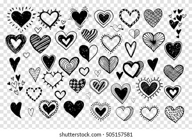 Collection of doodle sketch hearts hand drawn with ink. Vector illustration.