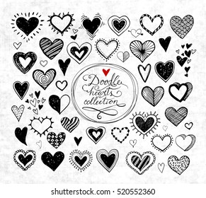 Collection of doodle sketch hearts hand drawn with ink isolated on grunge paper background. Vector illustration.