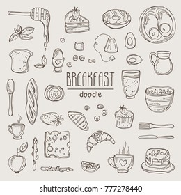 Collection of doodles breakfast icons. Vector hand drawn illustration.