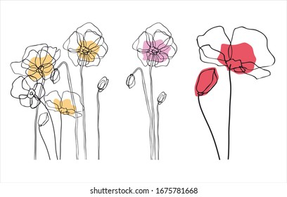 Collection of drawings of flowers with linear art on a white background. Vector hand illustration. One line