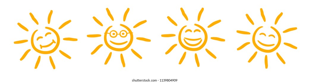 Collection of drawn sun sign icons - stock vector