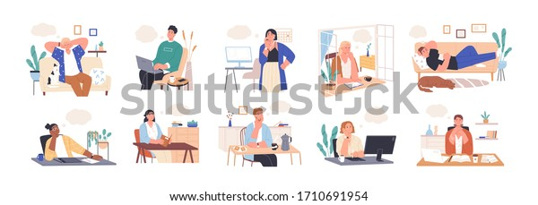 Collection of dreaming people isolated on white. Smiling thoughtful young men and women working and relax at home. Dreamy characters with thought bubble. Vector illustration in flat cartoon style