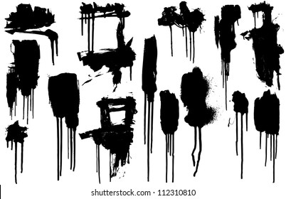 Collection of Dripping Paint Swashes. Just a collection of various size paint drips I've used frequently in my art