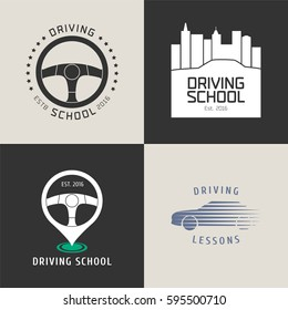 Collection of driving license school vector logo. Car driving on the city background, steering wheels graphic design element