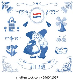 Collection of Dutch ornaments (Delft blue style). EPS 10.
