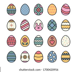 A collection of Easter eggs with various drawings. flat design style minimal vector illustration.