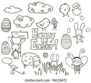 Collection of Easter related doodle.