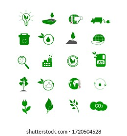 Collection of eco icons. Environmentally friendly waste, treatment of industrial effluents and emissions. Caring for the environment. Natural energy, solar panels as an alternative. Vector image.