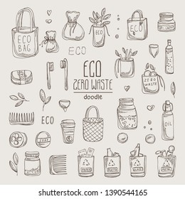 Collection of eco-friendly sings and zero waste icons. . Hand drawn vector doodles illustration.