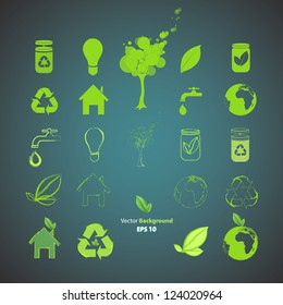 Collection of ecological icons. Vector design.