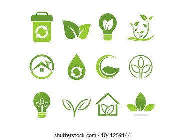 Collection ecology green, madical nature symbol icon logo