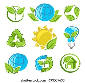 Collection ecology icons. Vector