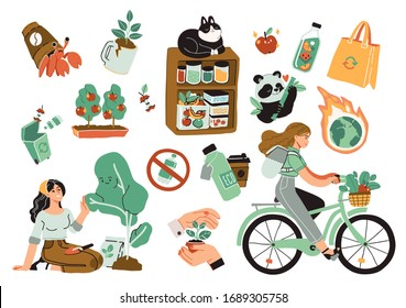 Collection of ecology illustrations. Eco friendly people set protecting the environment, sorting and collecting waste, using alternative energy and ecological transport. Vector