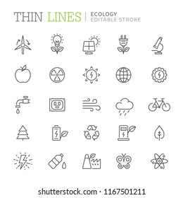 Collection of ecology related line icons. Editable stroke